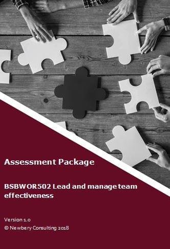 bsbwor502 b ensure team effectiveness essay Initiate a meeting with your manager (the assessor) to ensure you obtain advice from outside the work team consult with your manager (the assessor) to discuss team performance issues use your notes from assessment task 2 to provide the basis for this discussion.